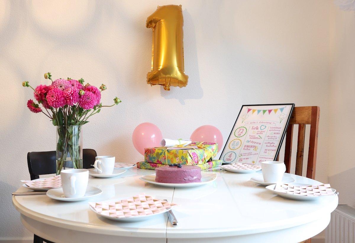Geburtstagstisch zum 1. Geburtstag