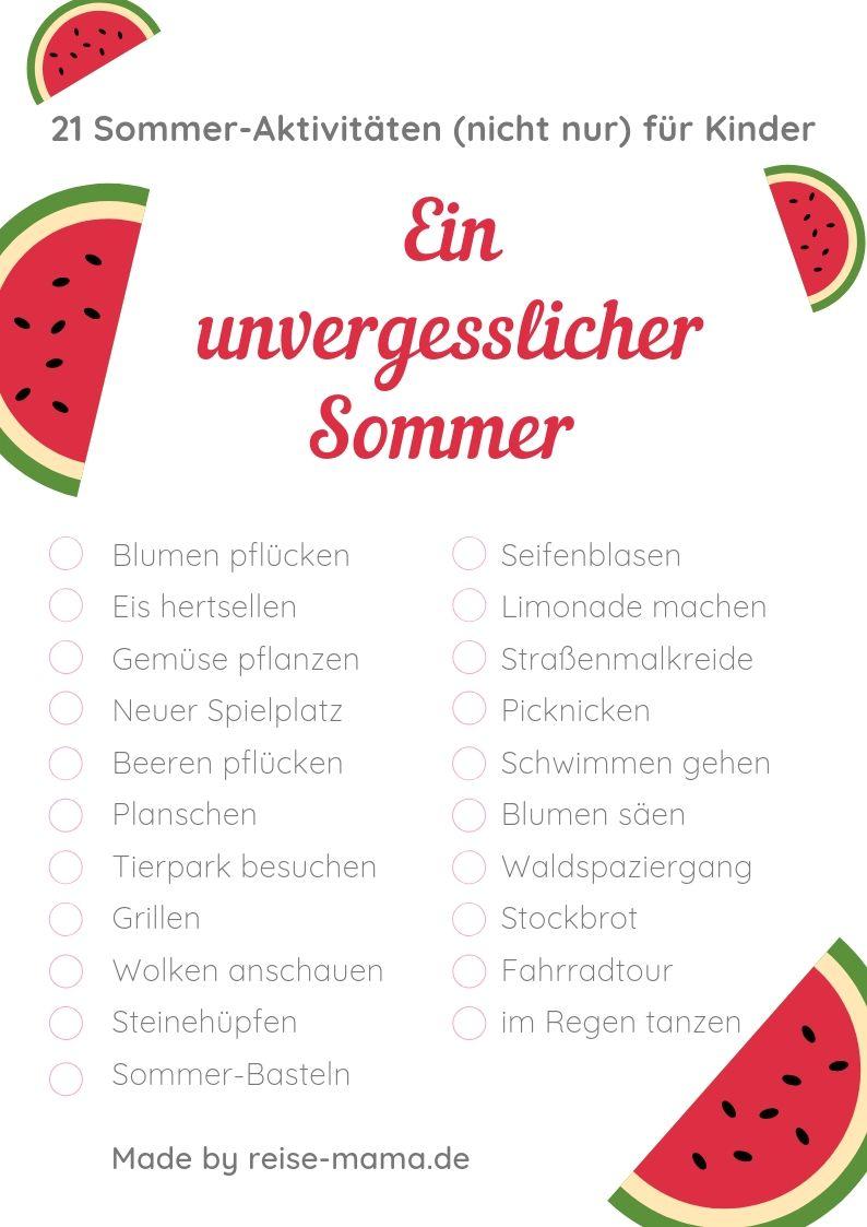 Sommer-Aktivitäten für Kinder Bucketlist