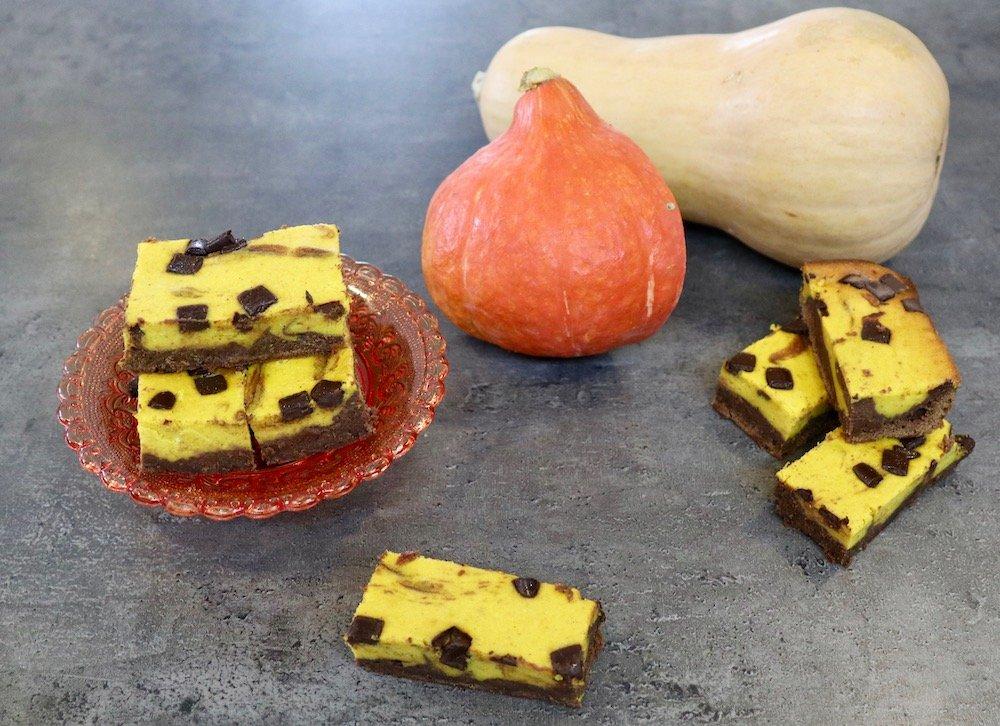 Kürbis-Schoko-Brownies mit Hokkaido