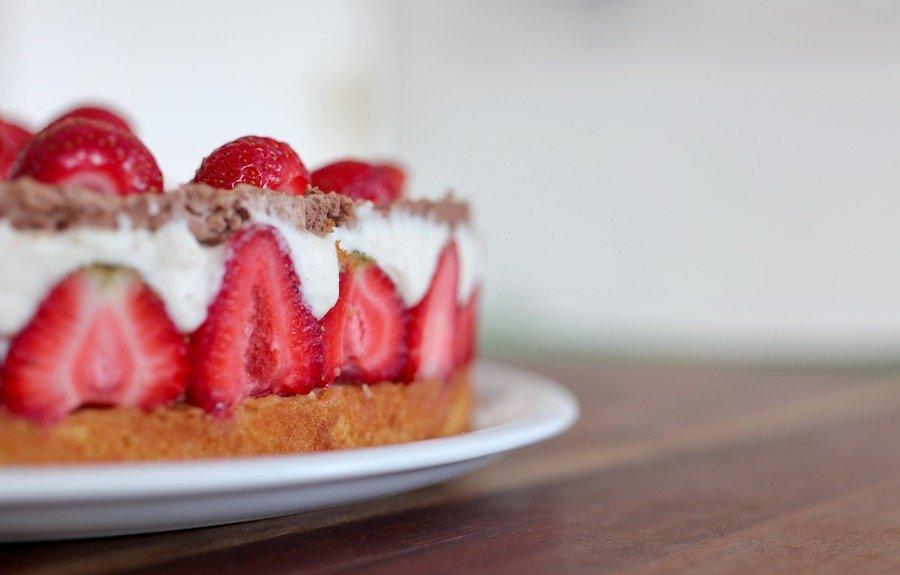 Erdbeeren-Torte Rezept mit Pudding