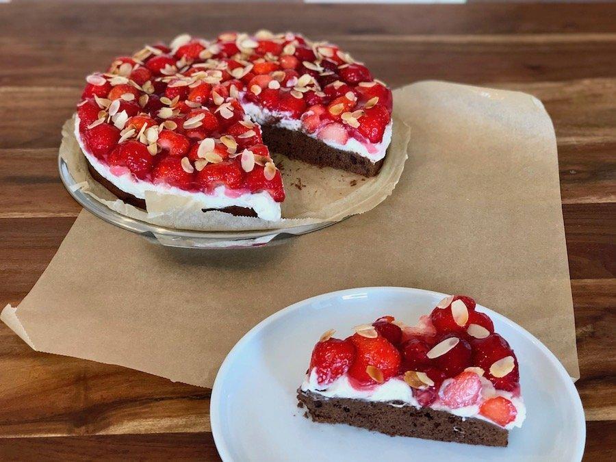 Erdbeer-Schoko-Kuchen mit Pudding Rezept